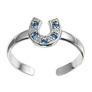 Horse Shoe Toe Ring Sterling Silver 925 Blue Sapphire Rhodium Plated Height 7 mm