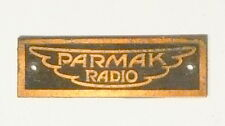 vintage * PARMAK BATTERY 8 TUBE RADIO part: BRASS PARMAK ID PLATE w/ ORIG NAILS