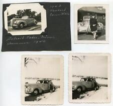 1942 PACKARD Car & Woman Posing DETROIT LAKES MN 4 Vtg 1945 Photos Summer & Snow