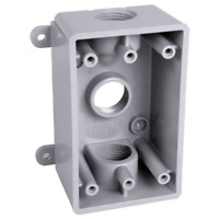 Hubbell-Bell PSB37550GY Weatherproof Box with Gang, 1/2-Inch or 3/4-Inch Outlets