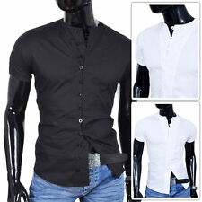 Grandad Patternless Slim Casual Shirts & Tops for Men