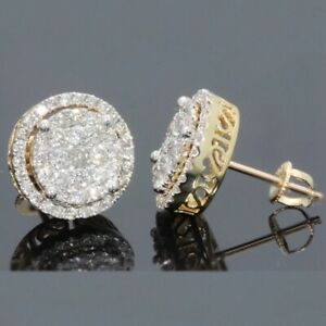 9K GOLD FILLED ICED OUT STUD EARRINGS MADE WITH SWAROVSKI CRYSTALS UK SELLER RG2