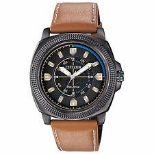 Citizen Eco-Drive Men's BJ6475-00E CTO Black Dial Khaki Leather Strap 48mm Watch