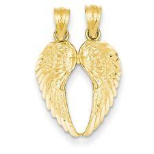 14k Yellow Gold Break Apart Diamond-cut Wings 18x15mm Pendant / Charms