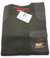 Percussion Round Neck Hunting Sweater Khaki Green w/ Stag Embroidery Jumper