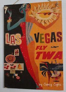TWA Airlines Las Vegas Vintage Retro Advertising Travel Poster on Wood Sign