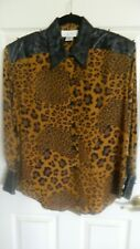 Amazing 100% Silk Cache Leopard Print & Beaded Leather Blouse Size Med Gorgeous!