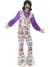 447560ed8ccd0 60s Groovy Hippie Costume - Fancy Dress Mens Hippy Adults 70s Retro 19  Flares