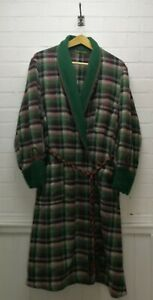 Vintage 1950s Tartan Wool Wrapover Dressing Gown Rope Belt Smoking Jacket Robe L