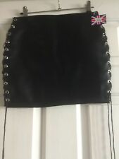THE FEDERATION LEATHER LOOK LACE SIDE MINI SKIRT NEW ALL SIZES