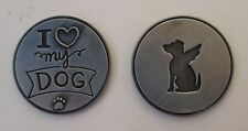 d 1x I love my dog angel PAWSITIVE PET POCKET TOKEN CHARM loss of