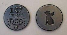 d 1x I love my dog angel PAWSITIVE PET POCKET TOKEN CHARM loss of