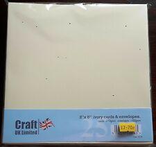 "Craft UK Ltd - Pack of 25 IVORY 8"" x 8"" Cards & Envelopes - Straight Edge"