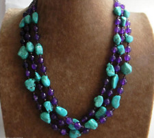 Purple Amethyst & Crystal Beads Necklace 48 Inch Nugget Turquoise & 6mm