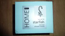 NEXT HOME SET OF 12 STARFISH CHROME SILVER SHOWER HOOKS SHINY STAR NEW BNIB