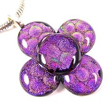 DICHROIC Fused Glass Silver PENDANT Pink Fuchsia Polka Dots Floral Patterned