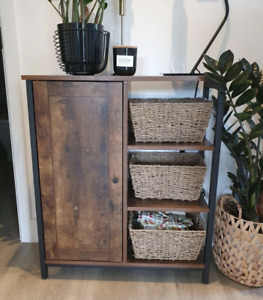 Industrial Side Cabinet Rustic Metal Sideboard Vintage Console Table Hall Unit