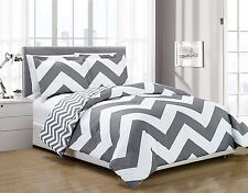Chezmoi Collection 3pc Gray White Chevron Reversible Zig Zag Comforter Set Queen