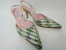 OSCAR DE LA RENTA EUR 38.5 US 8.5M Ribbon & Beads Tan Slingback Heel Shoe ITALY