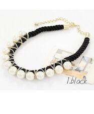 Halskette Nr.34 Kette Collier schwarz gold Perlen Kette Party Hochzeit Damen neu