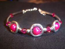Tibetan Silver PINK Pearl & PINK Crystal Bead CUFF Bracelet B-40