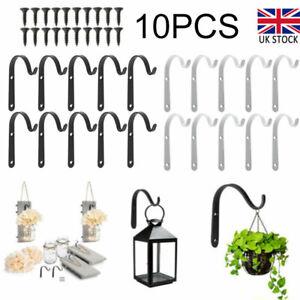 10Pcs/Set Garden Hanging Wall Basket Brackets Wrought Iron Hooks Planter Lantern