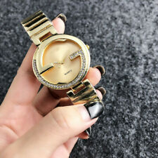 Stainless Steel Wristwatch Women's Crystal Lattice Golden Watch