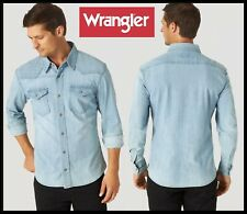 MENS WRANGLER SHIRT DENIM PREMIUM SLIM FIT COMFORT FLEX UNTUCKED LENGTH WESTERN