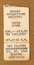 1985 Bryan Adams / Survivor Nashville Concert Ticket Stub Eye Of The Tiger