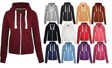 Kids Girls & Boys Unisex Plain Fleece Hoodie Zip Up Style Zipper Age 7-13 Years