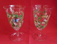 Set 2 Hand Painted Water Goblets  Ice Tea Clear Glass Butterflies Bees Vines