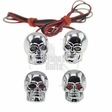 Chrome Skull LED License Plate Bolt and Valve Caps Motorcycle Auto Red Diodes