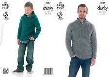 King Cole 4087 Knitting Pattern Sweater and Hoodie in King Cole Big Value Chunky