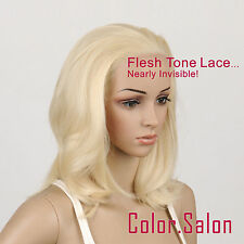 Hand-Tied Flesh Lace Front Synthetic Wigs Glueless Light Golden Blonde 97#613(F)