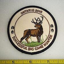 ONTARIO 2018 BIG GAME HUNTER HATS FOR HIDES PATCH, DEER,BEAR,MOOSE,HUNTING,FISH