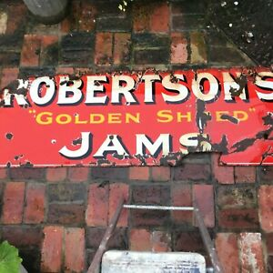 original vintage metal advertising sign Robertson's Gold Shred Jams
