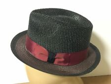 DOBBS Teardrop Fedora - Black w/Burgundy ribbon - Size Small - Summer straw