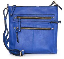 High Quality Faux Leather Large Top Zip Handbag Cross Body Bag Bright Blue