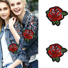 2pcs Red Rose Flowers Embroidery Iron on Patch Badge Sewing DIY Applique Craft