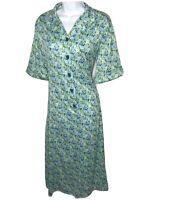Vintage Dress Floral Button Front Patio Blue Green Pockets Tribute Large Boho L
