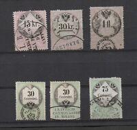 Lombardy-Venetia, 6 revenue stamps, interesting handstamp cancels.