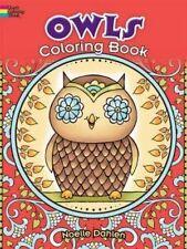 Coloring Book For Adults Kids Cute Owls Design Anti Stress Relaxing Fun Hobbies
