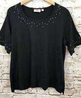 Quacker Factory black shirt womens large scalloped rhinestone elbow slv top B5
