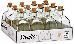 Set of 12 Square Glass Bottles & Cork Perfume Bottles Liquor Bottles 250ml