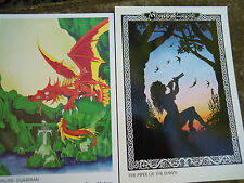 fairy and dragon post card greetings card x2 pagan wicca