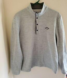 CALLAWAY Opti-Shield Pullover Golf Sweatshirt 1/4 Snap Light Gray ~ Mens Medium