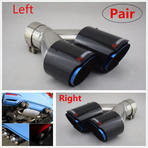 1 Pair Universal Left+Right Carbon Fiber Car Dual Exhaust Pipe Tail Muffler Tip
