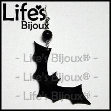 Orecchino Ciondolo Pipistrello Halloween Donna Plexiglass Pendente Nero 6 cm