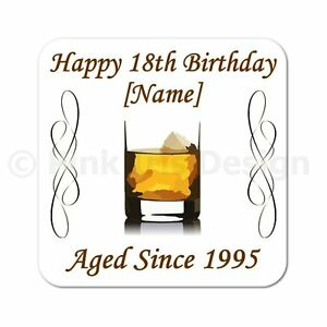 Personalised Whiskey 40th   50th   60th   65th   70th Birthday Gift Coaster