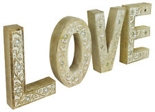 Large Wooden LOVE Flower Design Letters Sign Free standing Mango Wood Ornament